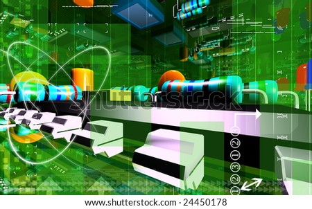 Digital illustration of an electric circuit board - stock photo