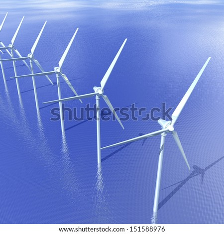 Digital Illustration of an offshore Wind Turbine - stock photo