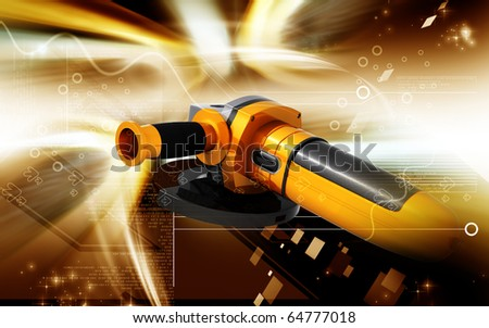 Digital illustration of angle grinder in colour background