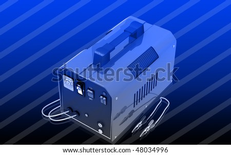 Digital illustration of Battery charger in colour background
