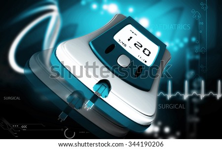 Digital illustration of Blood glucose meter in   colour background   - stock photo