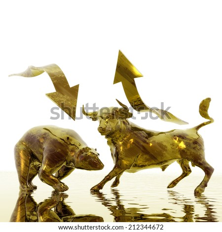 Digital Illustration of Bull and Bear - stock photo