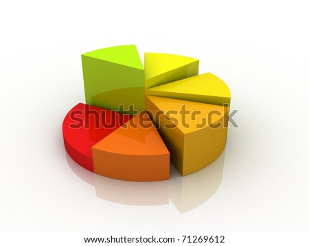 Digital illustration of Business Graph in 3d