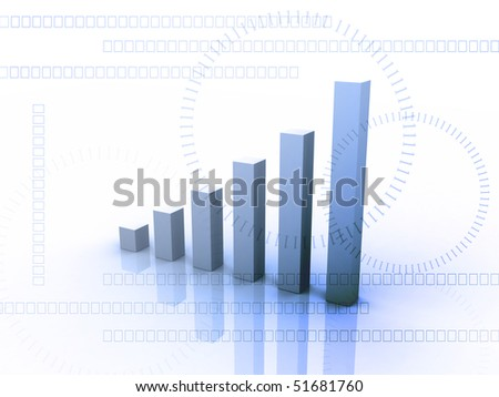 Digital illustration of Business Graph in 3d on digital background