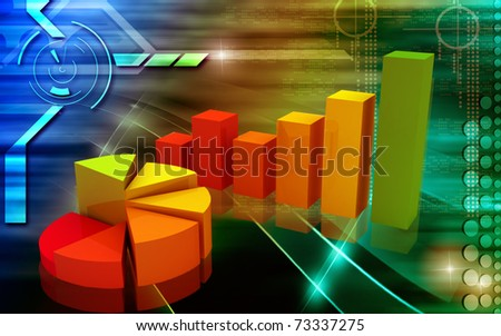 Digital illustration of Business Graph in 3d on digital background - stock photo