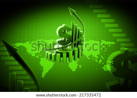 Digital illustration of   Business graph with dollar sign in colour background - stock photo