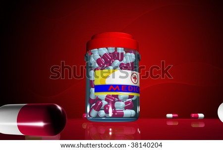 Digital illustration of capsule bottle in colour background