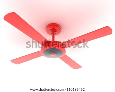 Digital illustration of ceiling fan in isolated background - stock photo