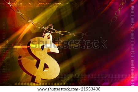Digital illustration of chain and dollar