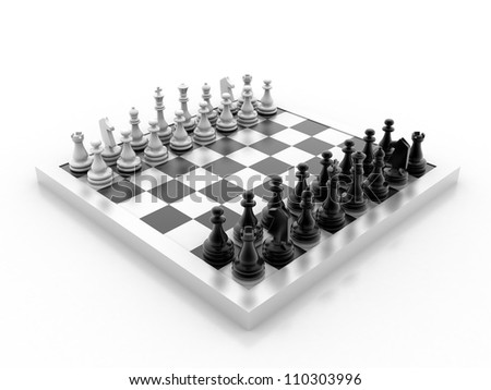Digital illustration of chess board in 3d on white background - stock photo