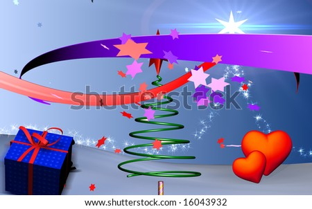 Digital illustration of Christmas tree in spring shape