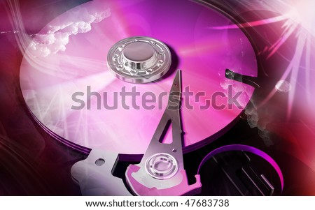 Digital illustration of compact disc reader in colour background
