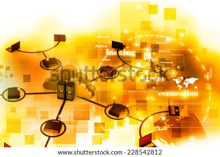 Digital illustration of computer network - stock photo