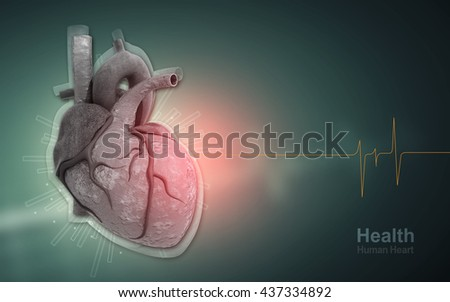 Digital illustration of 3d heart in digital background
