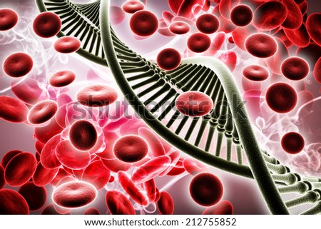 Digital illustration of Dna and Blood cells in colour background - stock photo
