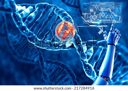 Digital illustration of DNA and its chemical formula - stock photo