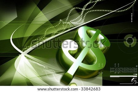 Digital illustration of dollar sign in colour background - stock photo