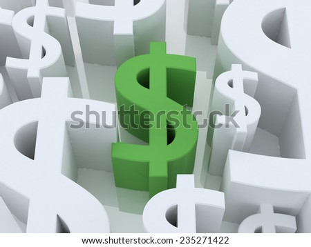 Digital illustration of dollar sign in 3d on white background - stock photo