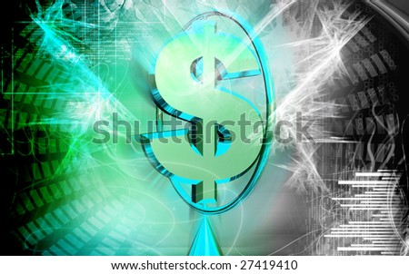 Digital illustration of Dollar sign with ring colour background