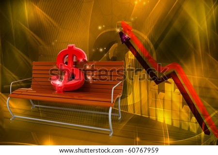 digital illustration  of dollar with graph in color background - stock photo