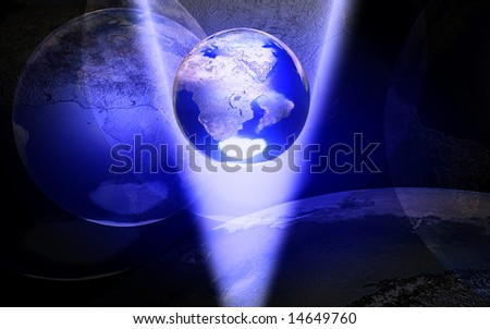 digital illustration of earth on blue spotlight