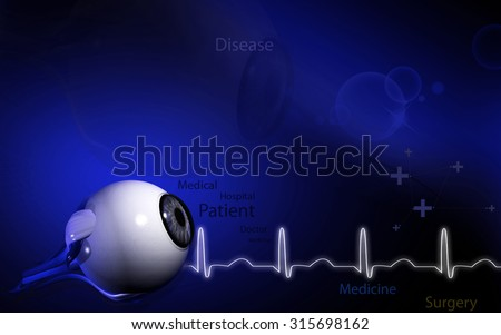 Digital illustration of  eye   in  colour  background  - stock photo