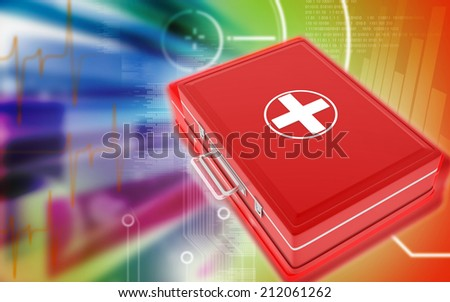 Digital illustration of First aid box  in colour background  - stock photo