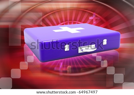 Digital illustration of first aid box in colour background