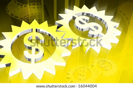 Digital illustration of Gear inside dollar