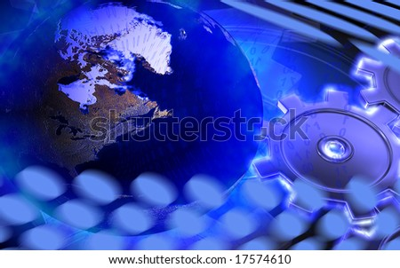 Digital illustration of gears and globe in blue colour