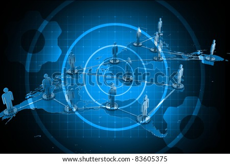 Digital illustration of Global business network concept in color background - stock photo