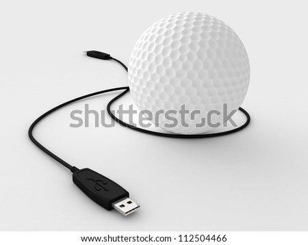 Digital illustration of golf ball & data cable in white background/ Golf Ball and Data Cable - stock photo