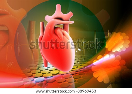 Digital illustration of heart in color background - stock photo