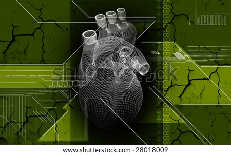 Digital illustration of heart in colour background   	 - stock photo