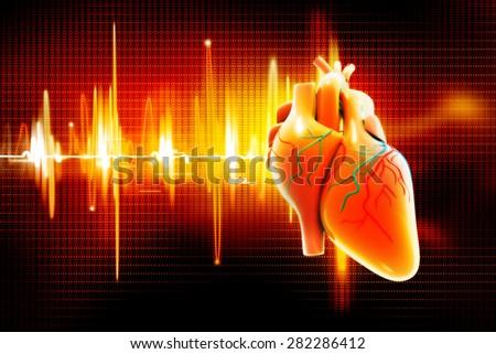 Digital illustration of Human heart - stock photo