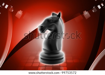 Digital illustration of knight chess piece in color background - stock photo