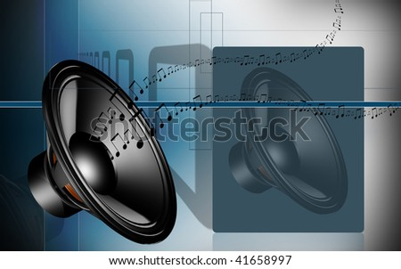 Digital illustration of loudspeaker  in colour background