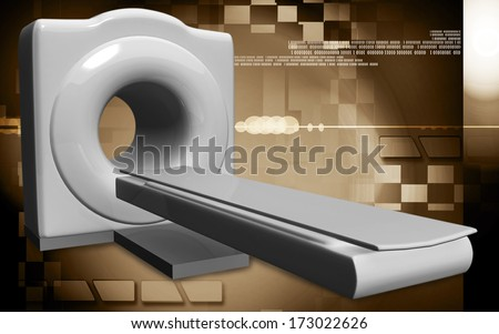 Digital illustration of Medical scanner in colour background - stock photo