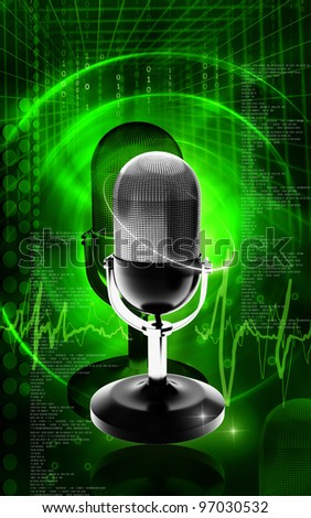 Digital illustration of microphone in colour background