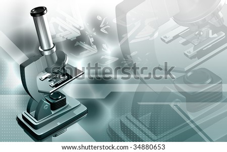 Digital illustration   of microscope in colour background