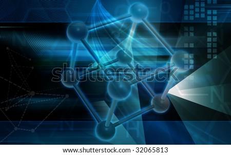 Digital illustration of molecule samples - stock photo