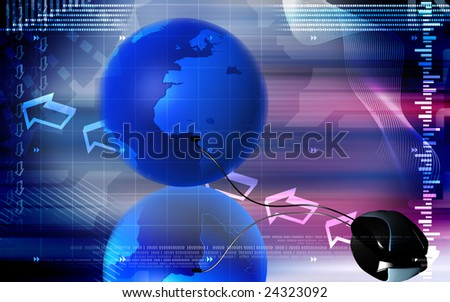Digital illustration of mouse and earth	 - stock photo