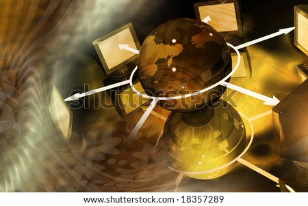 Digital illustration of network with monitor - stock photo