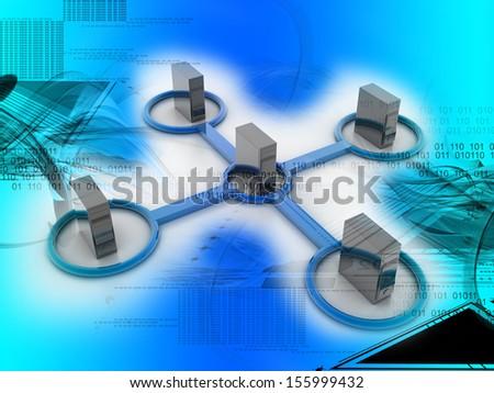 digital illustration of networking - stock photo