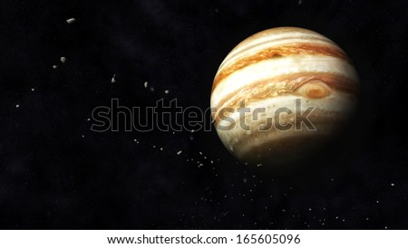 Digital Illustration of Planet Jupiter and Asteroids - stock photo