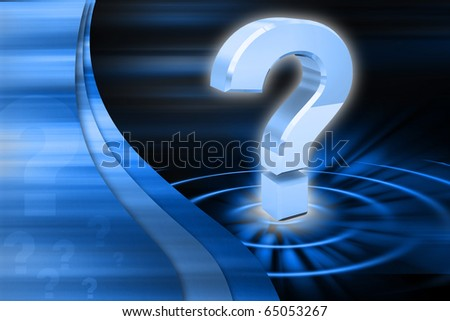 Digital illustration of Question mark in colour background - stock photo