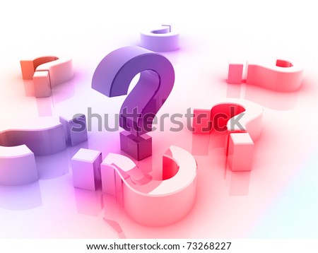 Digital illustration of question mark in 3d - stock photo