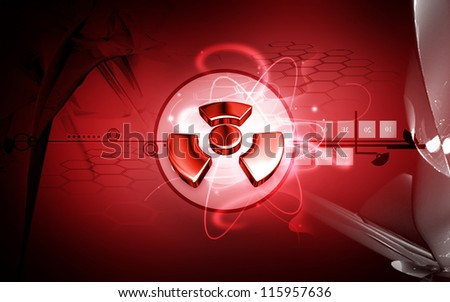 Digital illustration of radiation symbol in colour background
