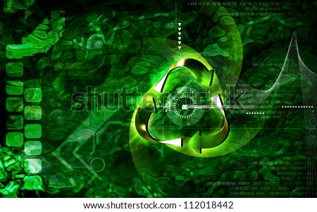 Digital illustration of recycle symbol in colour background