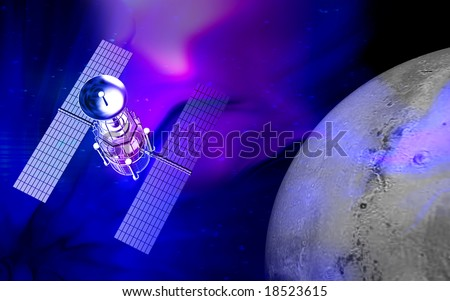 Digital illustration of space shuttle carrying a satellite to space	 - stock photo